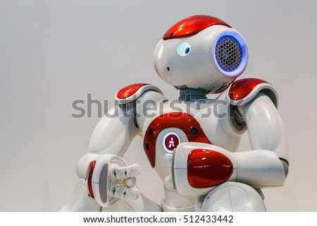 "Moscow, Russia, November 4, 2016: The 4rd International Exhibition of Robotics and advanced technologies ""Robotics Expo"" in Moscow.Focus on the head, soft focus"