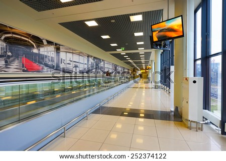 MOSCOW, RUSSIA - OCT 12: Sheremetyevo airport interior on October 12, 2014. Sheremetyevo International Airport is one of the three major airports that serve Moscow - stock photo