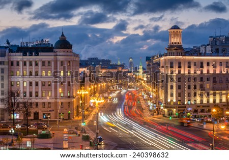MOSCOW, RUSSIA - OCT 23, 2014: Tverskaya Street in Moscow at evening, far visible towers of the Kremlin  - stock photo