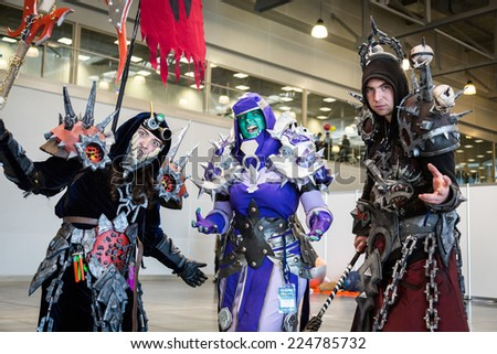 MOSCOW, RUSSIA, October 4: Comic Con attendee poses in the costume during Comic Con 2014 at The Crocus Center on October 4, 2014 in Moscow, Russia. - stock photo
