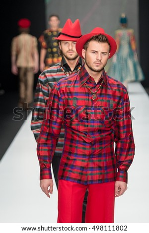 Moscow, Russia - October 13, 2016: Model walk runway for Slava Zaitsev show at Spring- summer 2017 Mercedes Benz Fashion Week - Russia