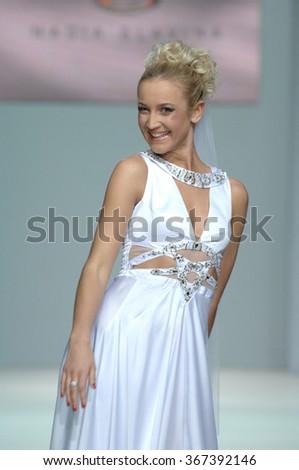MOSCOW, RUSSIA - October 28, 2011: Moscow Fashion Week. Russian TV presenter Olga Buzova in the show of fashion designer Nadejda Slavina - stock photo