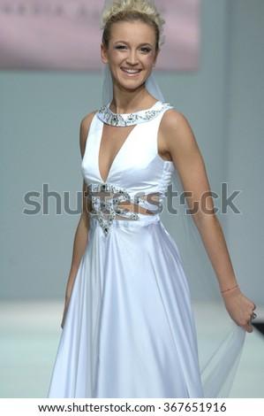 MOSCOW, RUSSIA - October 28, 2011: Moscow Fashion Week. Russian TV presenter Olga Buzova in the show of fashion designer Slavina - stock photo
