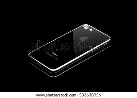 MOSCOW, RUSSIA - OCTOBER 24, 2016: New black iPhone 7 is a smartphone developed by Apple Inc. Apple releases the new iPhone 7 and iPhone 7 Plus
