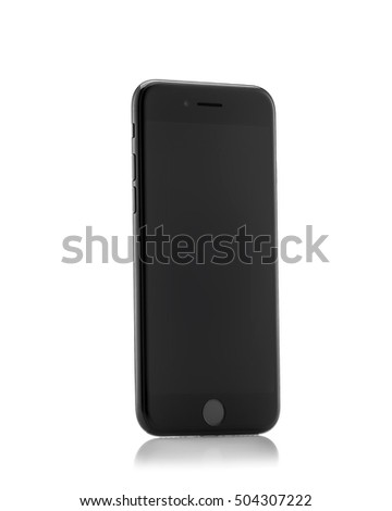 MOSCOW, RUSSIA - OCTOBER 18, 2016: New black iPhone 7 is a smartphone developed by Apple Inc. Apple releases the new iPhone 7 and iPhone 7 Plus
