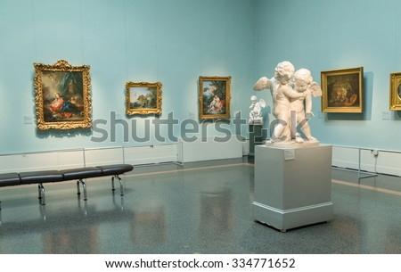 Moscow, Russia - October 29, 2015: Pushkin Museum of Fine Arts is largest museum of European art in Moscow, Russia. - stock photo
