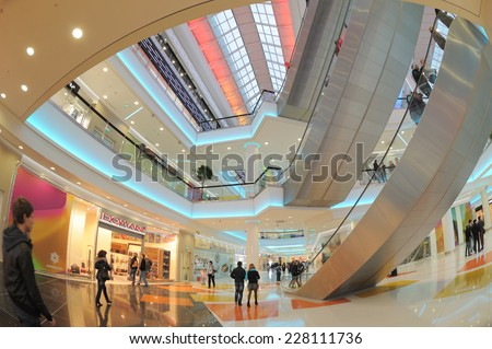 "MOSCOW, RUSSIA - October 5, 2012: The new shopping center ""Kaleidoscope"" metro ""Skhodnenskaya"", Moscow, the interior - stock photo"