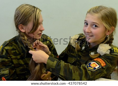 MOSCOW, RUSSIA - OCTOBER 24,2013:The unknown girl of the cadet corps.Cadet corps - initial military training school with the full Board to prepare youth for a military career.