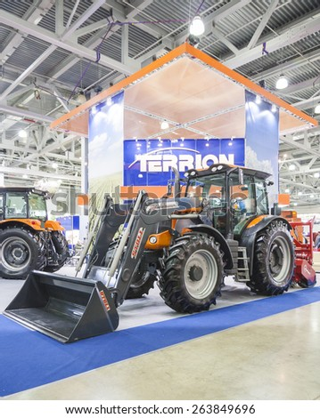 MOSCOW, RUSSIA - OCTOBER 11, 2012: Tractor brand TERRION Russian company Agrotechmash at the international exhibition AGROSALON