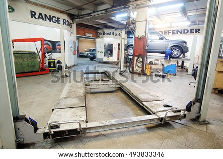 Moscow, Russia - October, 3, 2016: Working shop in a car repair station in Moscow, Russia