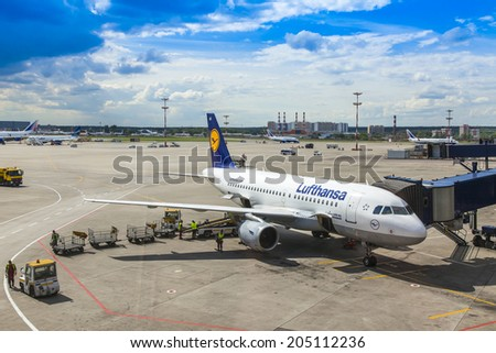 Moscow, Russia, on July 5, 2014. Preflight service of the plane of airline Lufthansa at the airport Vnukovo