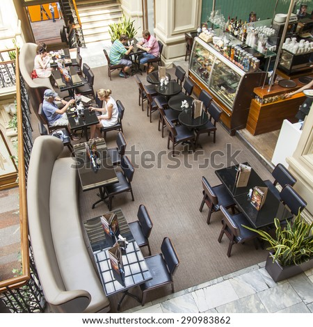 MOSCOW, RUSSIA, on JUNE 24, 2015. An interior of a trading floor of the GUM historical shop during summer sales. Cafe in trade gallery