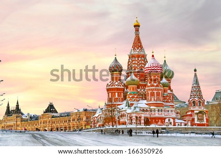 Moscow,Russia,Red square,view of St. Basil's Cathedral in winter - stock photo
