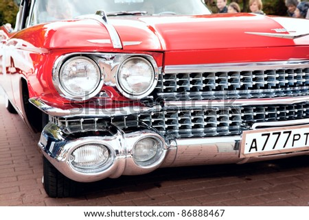 """MOSCOW, RUSSIA - SEPT 24: A 1959 Cadillac Eldorado in the final stage of the competition for classic cars at the """"Closing  of the season Rally Retro Car"""" on September 24, 2011 in Moscow, Russia - stock photo"""
