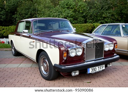 "MOSCOW, RUSSIA - SEPT 24: A 1965 Rolls-Royce Silver Shadow II in final stage of the competition for classic cars at the ""Closing  of the season Rally Retro Car"" on September 24, 2011 in Moscow, Russia"