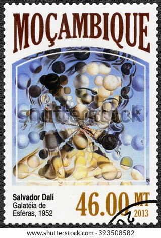MOSCOW, RUSSIA - SEPTEMBER 12, 2015: A stamp printed by Mozambique shows Galatea of the Spheres, 1952, by Salvador Dali (1904-1989), 2013 - stock photo