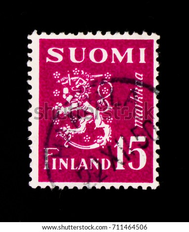 MOSCOW, RUSSIA - SEPTEMBER 3, 2017: A stamp printed in Finland shows Coat of arms, Model 1930 Lion serie, circa 1950