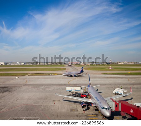 MOSCOW, RUSSIA - SEPTEMBER 20, 2014: Airbus of Aeroflot company take off in Sheremetyevo  International Airport, Moscow, Russia - stock photo