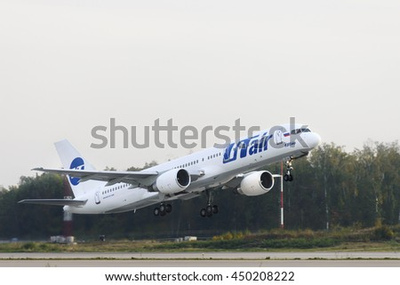 MOSCOW, RUSSIA - SEPTEMBER 26, 2014:  Boeing 757-200 Utair Airlines take off at Domodedovo international airport