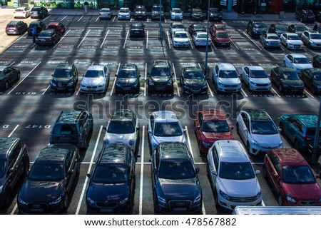MOSCOW, RUSSIA- SEPTEMBER 05, 2016: Finch station parking lot on SEPTEMBER  05, 2016 in Moscow. Himki business parking.