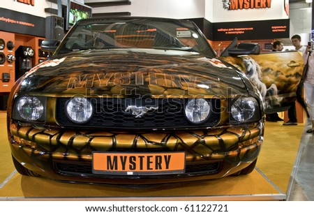 MOSCOW, RUSSIA - SEPTEMBER 5: Ford Mustang in airbrushing mystery presented at the Moscow International Autosalon on September 5, 2008 in Moscow.