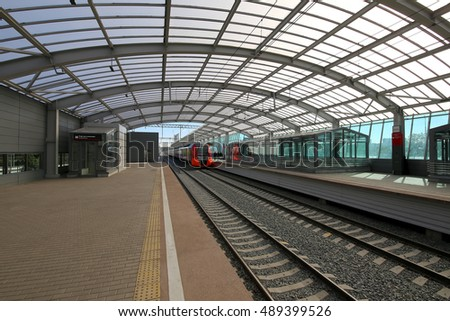 MOSCOW, RUSSIA - SEPTEMBER, 26 2016: Little Ring of the Moscow Railways- MCC,or MK MZD, is a 54.4-kilometre-long orbital railway in Moscow.Russia. Opened 10 September 2016. Luzhniki railway station
