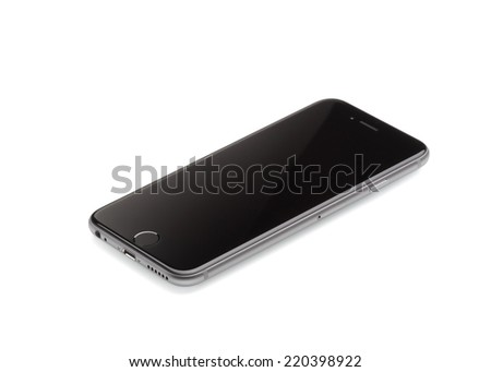 MOSCOW, RUSSIA - SEPTEMBER 26, 2014: New iPhone 6 is a smartphone developed by Apple Inc. Apple releases the new iPhone 6 and iPhone 6 Plus - stock photo