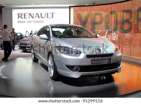 MOSCOW, RUSSIA - SEPTEMBER 1: Renault Fluence presented at the Moscow International Autosalon on September 1, 2010 in Moscow, Russia. - stock photo