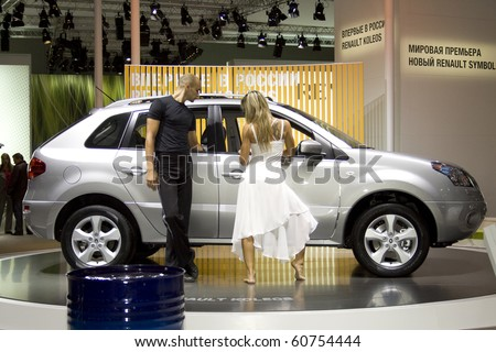 MOSCOW, RUSSIA - SEPTEMBER 2: Renault Koleos presented at the Moscow International Autosalon on September 2, 2008 in Moscow. - stock photo