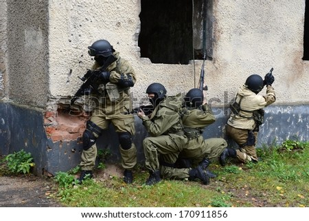 MOSCOW, RUSSIA - SEPTEMBER 16, 2013:Special-purpose Units of the army and police are designed for special events with the use of special tactics and tools. Training fighters  in Moscow,
