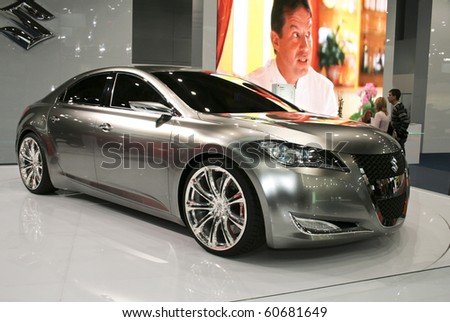 MOSCOW, RUSSIA - SEPTEMBER 2: Suzuki Kizashi 3 presented at the Moscow International Autosalon on September 2, 2008 in Moscow. - stock photo