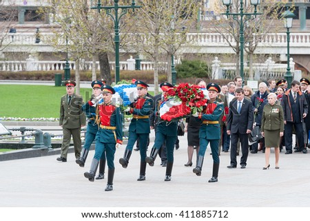MOSCOW, RUSSIAN FEDERATION - APRIL 26: Floral wreaths of the Crimea delegation to the Eternal Flame. April 26, 2016, Aleksandrovskiy Garden, Moscow, Russia .