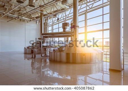 Moscow, Russian Federation, July 26, 2015: Equipment for brewing beer on the territory.of Moscow Brewing Company. - stock photo