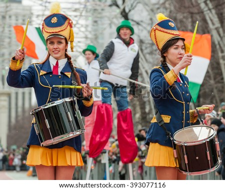 MOSCOW, RUSSIAN FEDERATION - MARCH 19: Drummers at the St. Patrick Parade. Sokolniki Park, on March 19, 2016 in Moscow, Russia.