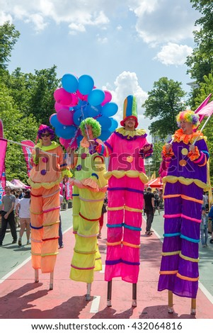 MOSCOW, RUSSIAN FEDERATION - MAY 28: Parade of Moscow Ice cream Festival. MAY 28, 2016, Sokolniki Park, Moscow, Russia.