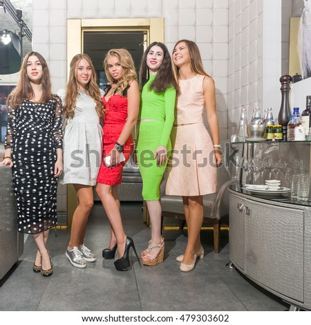 MOSCOW, RUSSIAN FEDERATION - SEPTEMBER 2, 2016: Birthday is celebrated in the Royal Arbat karaoke bar. The participants of celebration. Novy Arbat street.