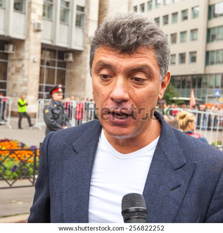 MOSCOW - SEP 15, 2012: Boris Nemtsov - russian statesman, one of the leaders of opposition during anti-Putin protest. Boris Nemtsov was killed in the night of Feb 28, 2015 in center of Moscow. - stock photo