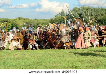MOSCOW - SEPTEMBER 4: Ancient battle reconstruction. The international festival of fights Times and epoch. With over 130000 spectators on September 4, 2011 in Moscow, Russia.