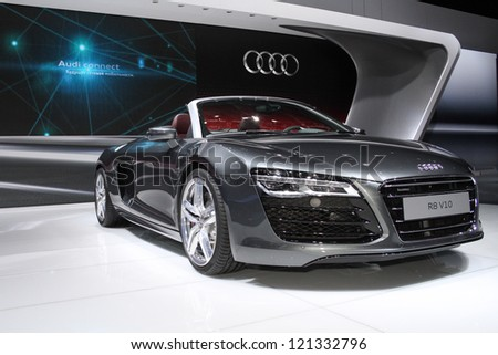 MOSCOW-SEPTEMBER 1: Audi R8 V10 spyder at the international exhibition of  the automobile industry Moscow international automobile salon MIAS on September 1, 2012 in Moscow - stock photo