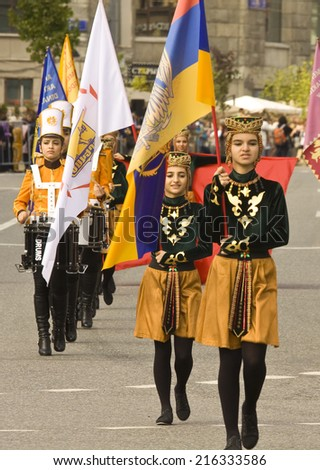"""MOSCOW - SEPTEMBER 06, 2014: international festival of military orchestra """"Spasskaya tower"""", orchestra """"Yerevan drummers"""" and dancing ensemble """"Armelad"""", Armenia. - stock photo"""