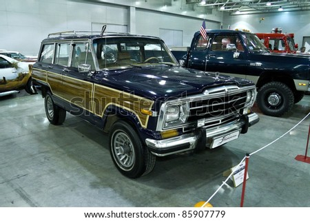 MOSCOW - SEPTEMBER 16: JEEP Grand Wagoneer 1986 at the international exhibition of the technical antiques on September 16, 2011 in Moscow, Russia