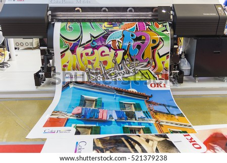 MOSCOW SEPTEMBER 29 2016 Large Format Printers Japanese Company OKI At The International