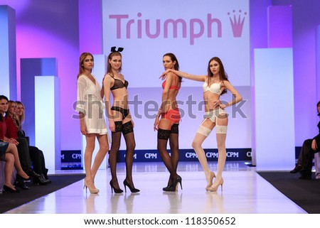 MOSCOW-SEPTEMBER 8: Triumph clothing collection at the international exhibition of  the fashion industry, Collection Premiere Moscow, CPM on September 8, 2012 in Moscow - stock photo