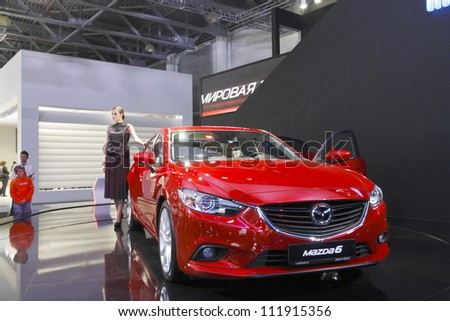 MOSCOW-SEPTEMBER 3:World premiere of the Mazda 6 at the Moscow International Motor Show on September 3,2012 in Moscow - stock photo