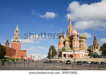 Moscow, St Basil Cathedral and Red Square scenic view - stock photo