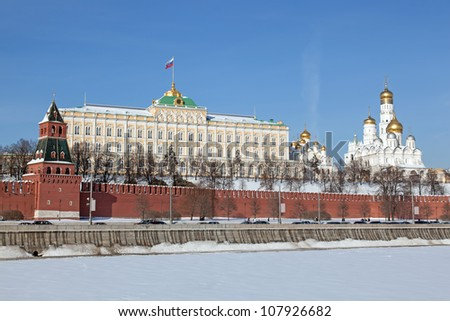 Moscow. View of Kremlin with Moskva river in foreground. Winter - stock photo