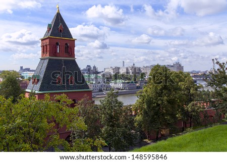 Moscow. View of the Taynitsky tower and Zamoskvorechye from the territory of the Moscow Kremlin