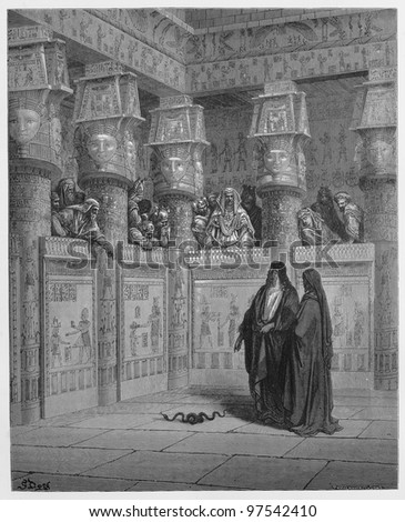 Moses and Aaron appear before Pharaoh - Picture from The Holy Scriptures, Old and New Testaments books collection published in 1885, Stuttgart-Germany. Drawings by Gustave Dore. - stock photo