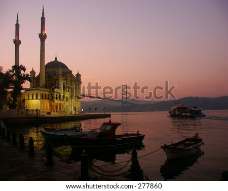 Mosque and Bridge at Ortakoy in Istanbul - stock photo