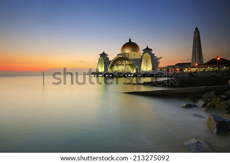 Mosque at straits of malacca